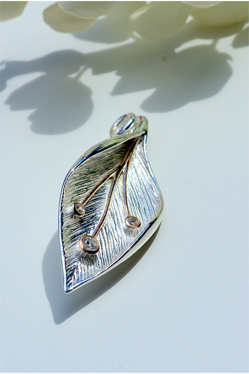 Silver Leaf with Swarovski