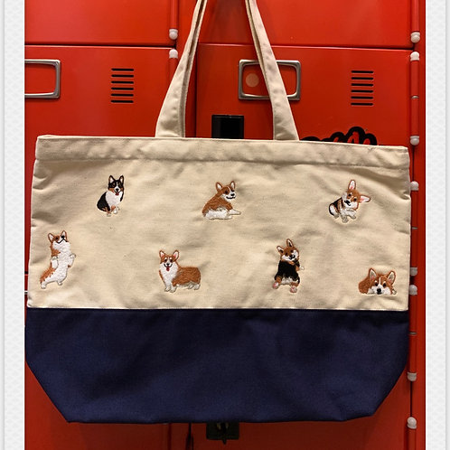 Corgi tote canvas white