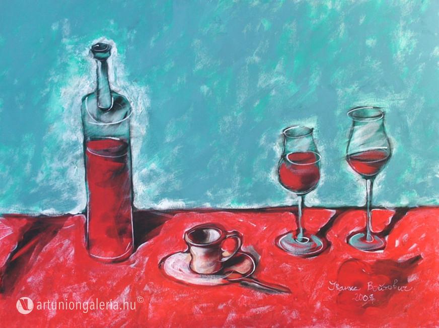 """Voytovych Ivanka """"Csendélet vörös borral"""" festmény eladó"""
