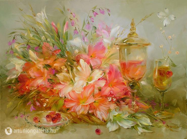 """Homchik Anna """"Csendélet lepkével"""" festmény eladó"""