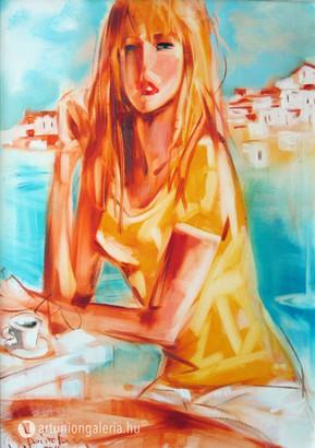 """Voytovych Alexander """"Kávé a tengerparton"""" festmény eladó"""