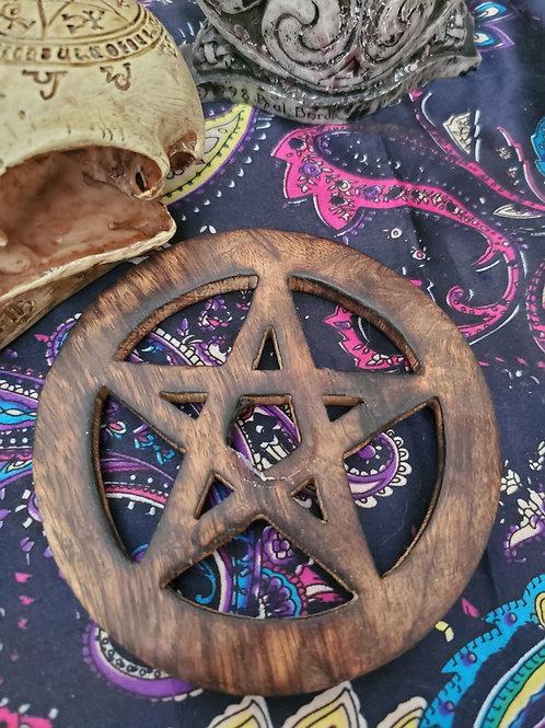 Dark Wood Pentacle Altar Tile