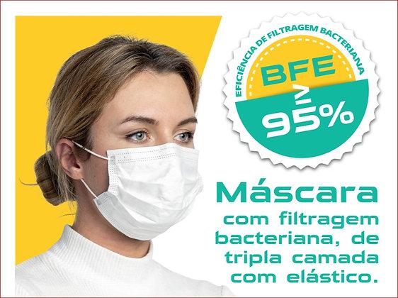 Máscara Descartável Tripla c/ elástico c/ 50 unidades