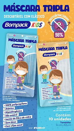Máscara Tripla c/ Elástico KIDS c/ 10 unidades