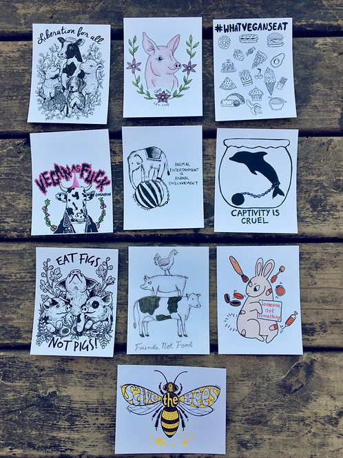 Vegan Veins- Vegan PostCards Bundle 11 Pack
