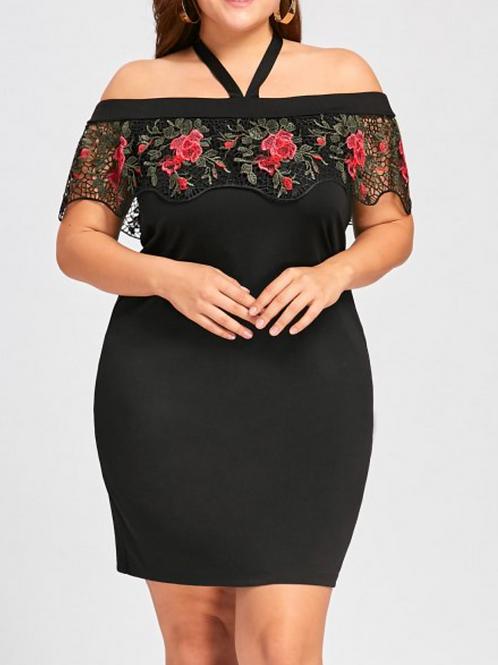 Plus Size Halter Neck Lace Capelet Dress - Black