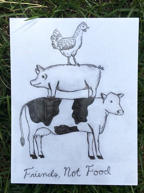Vegan Veins Postcard- Friends Not Food