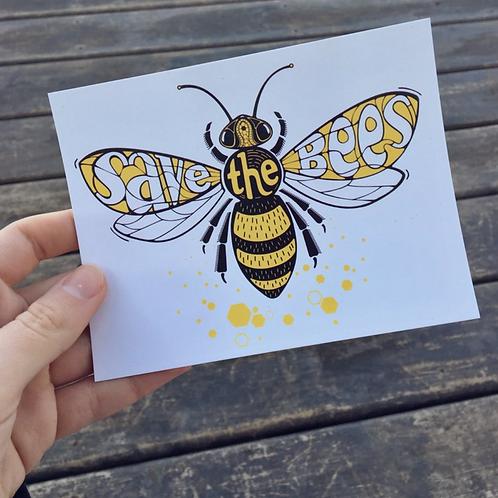 Vegan Veins Postcard- Save The Bees
