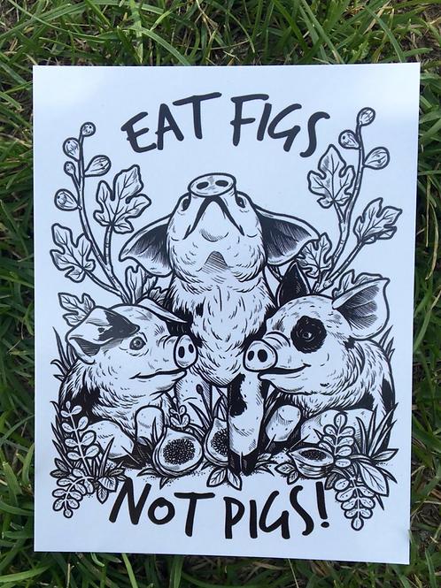 Vegan Veins- Postcard EAT FIGS NOT PIGS
