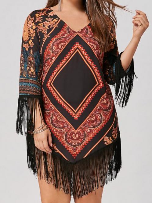 Plus Size Tribal Printed Chiffon Tassel Dress - Floral