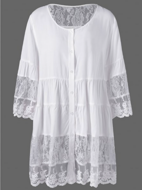Plus Size Lace Insert Scalloped Button Up Blouse - White