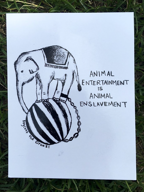Vegan Veins- Postcard ANIMAL ENTERTAINMENT IS ANIMAL ENSLAVEMENT