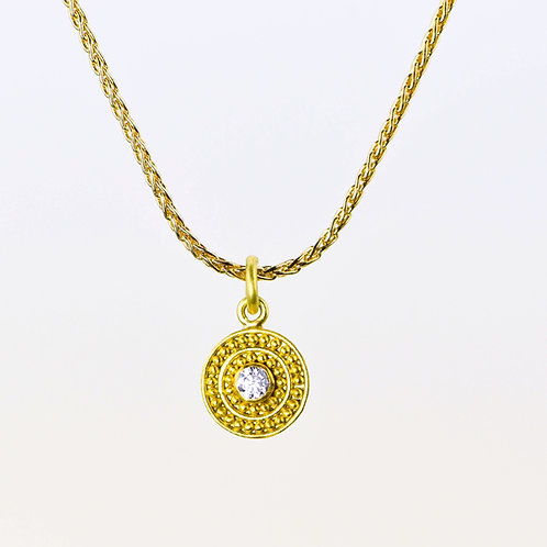 Diamond Pendant in 22k and 18k Gold, chain not included