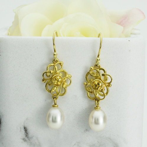 Yellow Sapphire Earrings With Pearl Drops