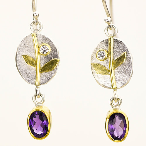 Vine drops with diamonds and amethysts