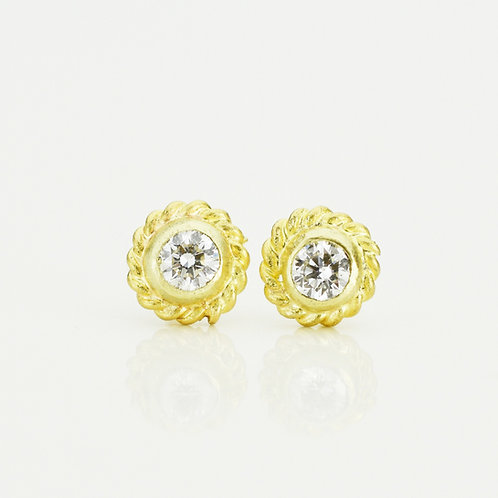 Diamond Braid Stud Earrings