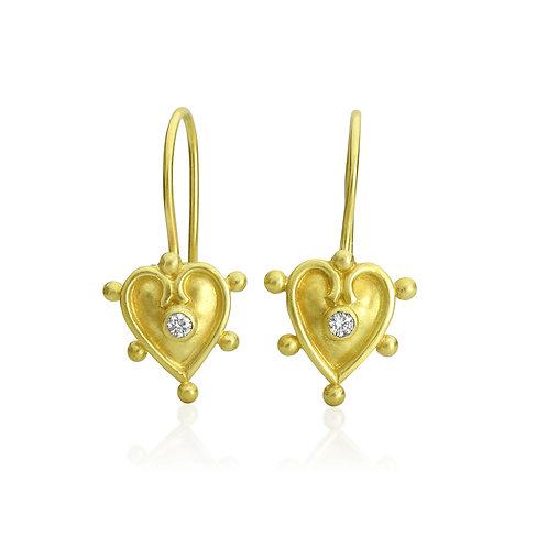 Heart Earrings in 18k Gold With Diamonds