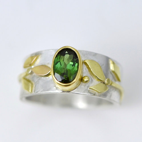 Tourmaline Vine Ring in 18k Gold and Sterling