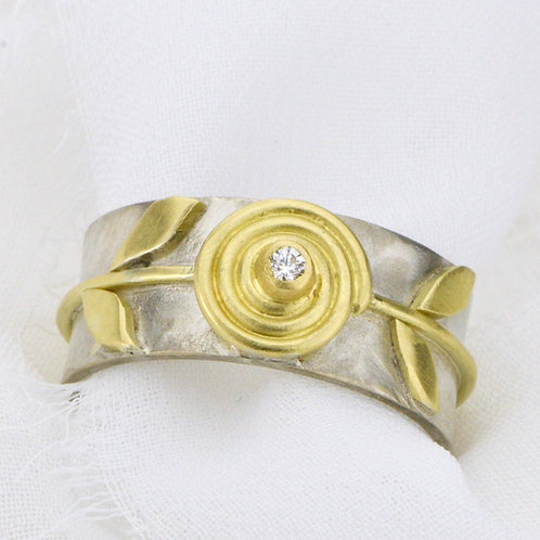Spiral and Vine Ring With Diamond
