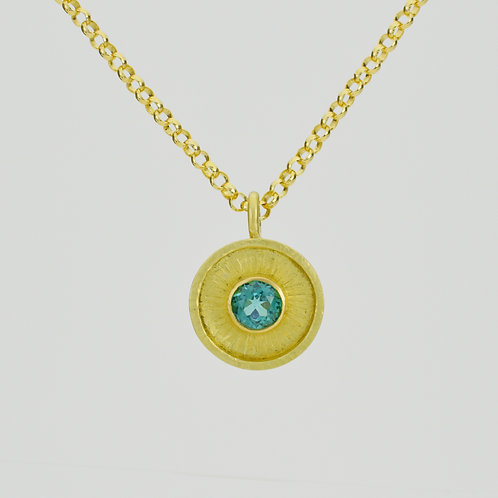 Disc Pendant With Teal Tourmaline