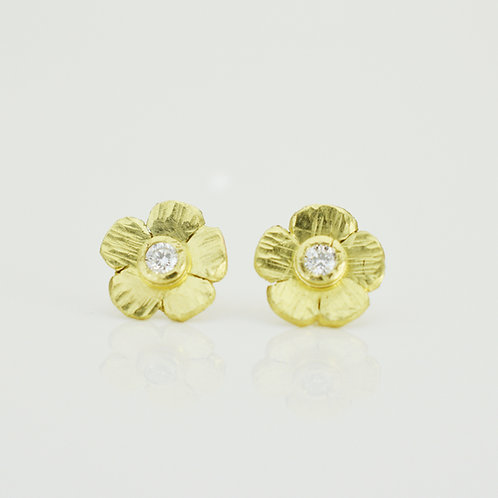 Small Flower Diamond Stud Earrings