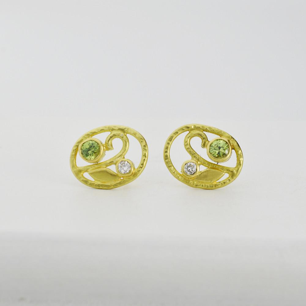 18k gold and diamond demantoid garnet earrings