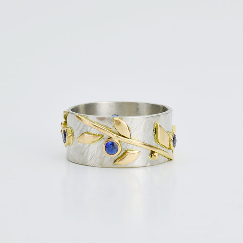 """Platinum and 18k Gold """"Vine"""" Ring With Sapphires"""
