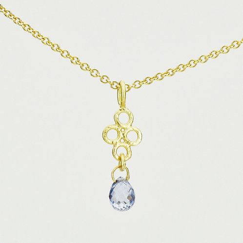 18K Gold Lace Pendant With Sapphire