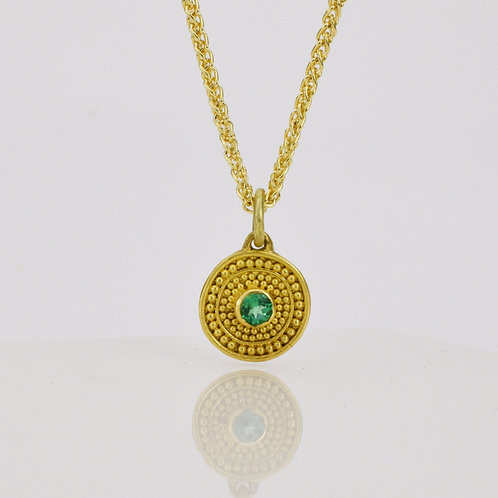 Emerald Granulated Disc Pendant