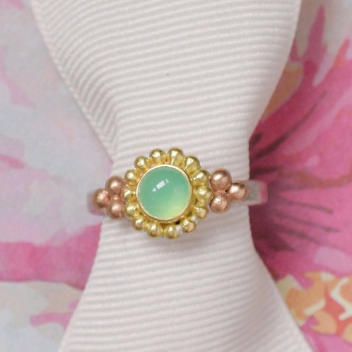 Chrysoprase Ring in Silver and 18k Gold