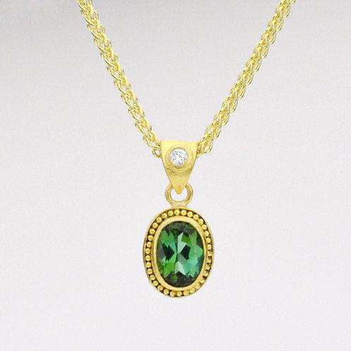 Evergreen Pendant with Tourmaline and Diamond