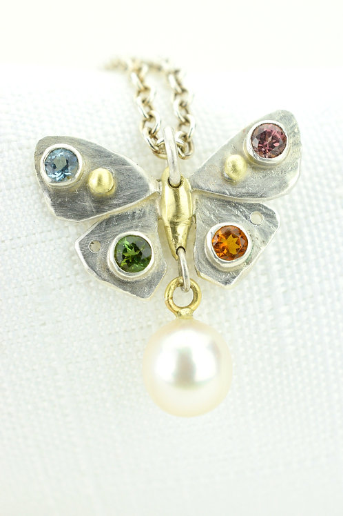 Nouveau Butterfly Pendant With Gems