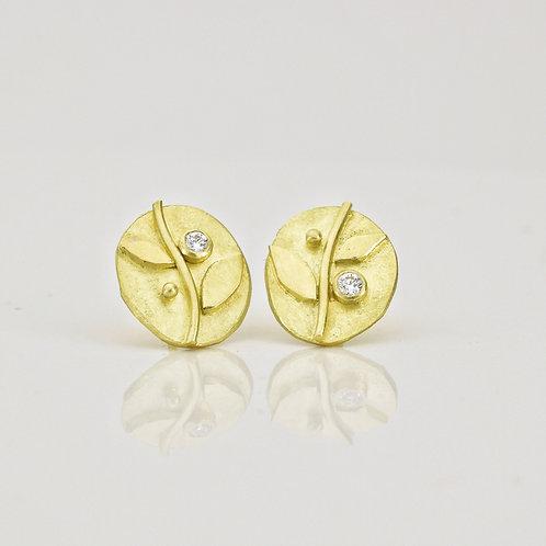 Oval Vine Stud Earrings