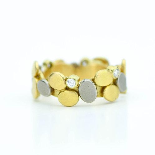 """Gold and Diamond """"Cobblestone """" Ring"""