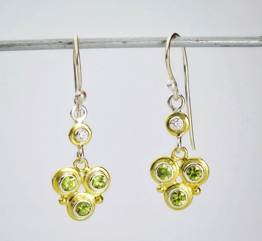 garnet and diamond custom dangle earrings