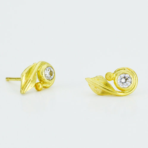 Diamond With Leaf Stud Earrings