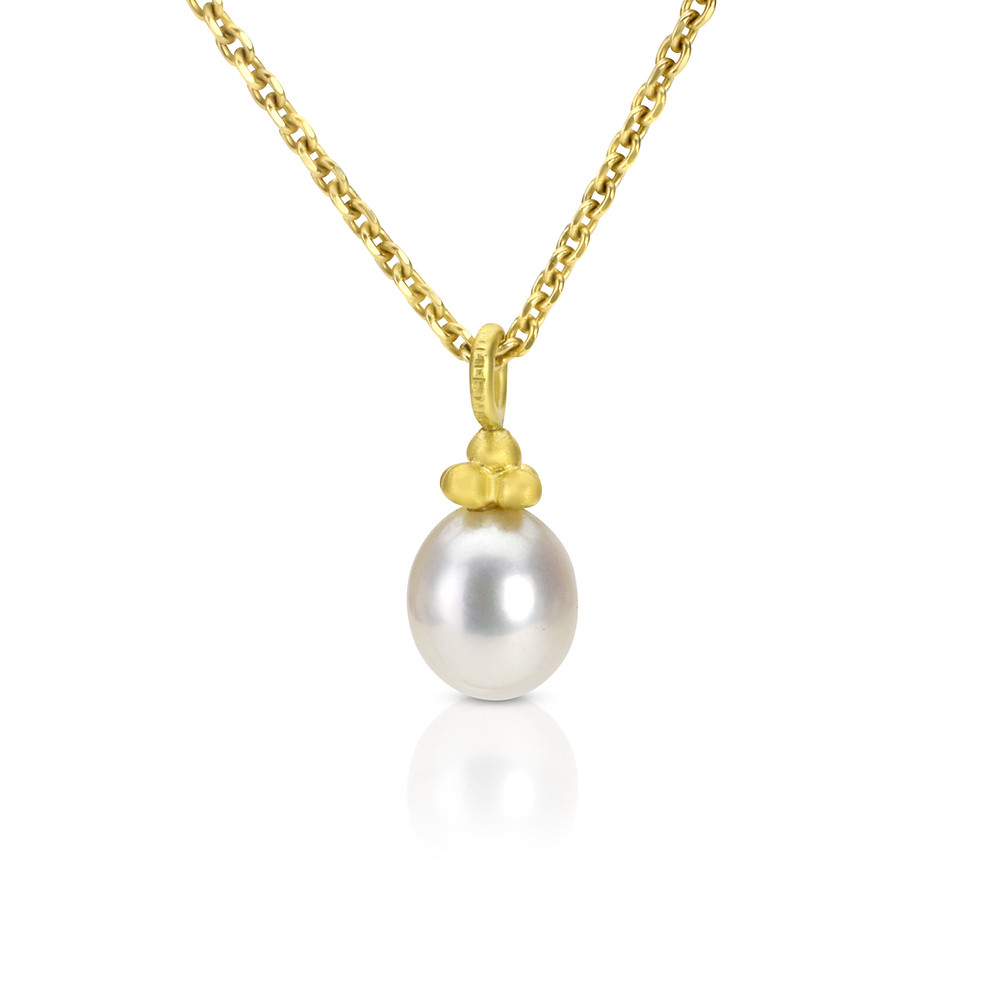 freshwater pearl 18k gold pendant