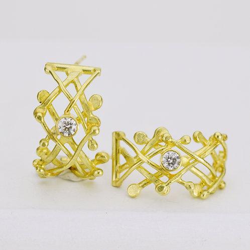 Lattice Earrings With Diamonds
