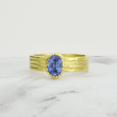 Sapphire and 18k Gold Textured Ring