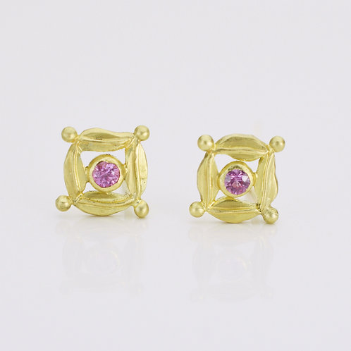 Small Pink Sapphire Stud Earrings