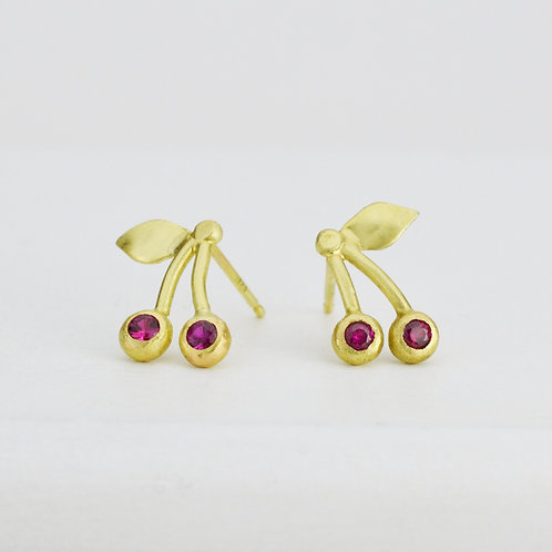 18k Gold and Spinel Cherry Earrings