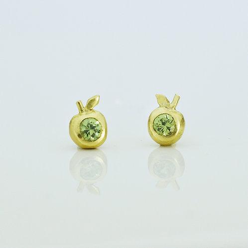 18K Gold Granny Smith Apple Stud Earrings