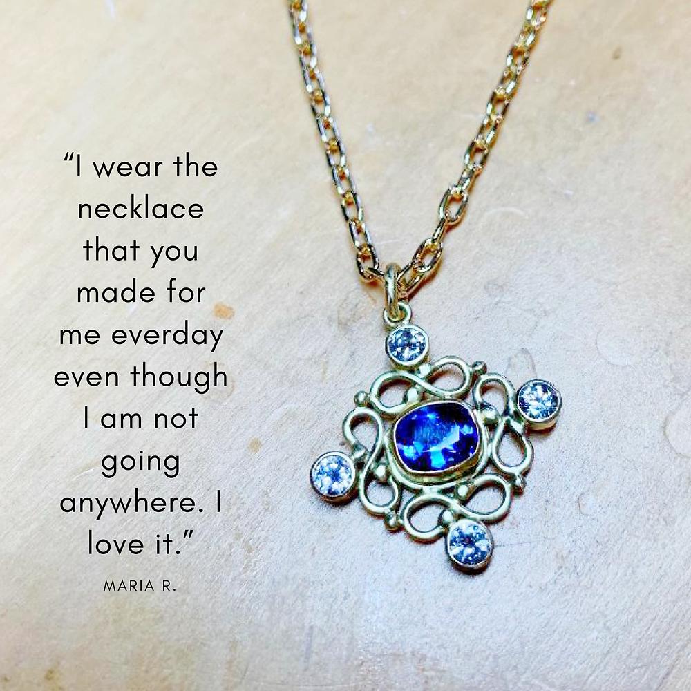 18k gold and diamond tanzanite pendant