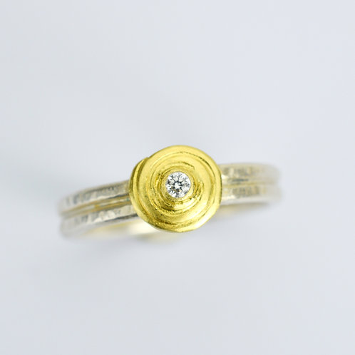 18k Gold and Silver Migration Ring