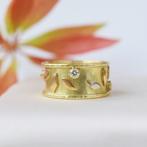 """Diamond and 18k Gold """"Falling Leaves"""" Ring"""