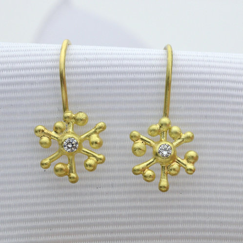 Snowflake and Diamonds Drop Earrings
