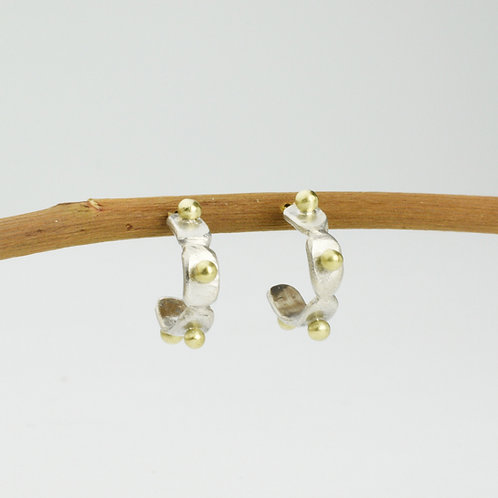 Small Silver Hoop Earrings With 18K Gold Dots.