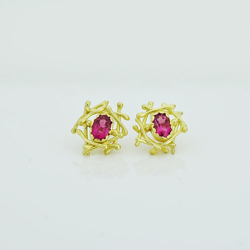 Nest Earrings With Pink Tourmaline