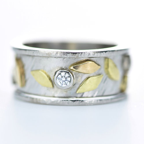 Falling Leaves Ring In Platinum and 18K Gold