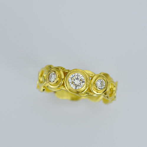 18k Gold Layered Scroll Ring With Diamonds